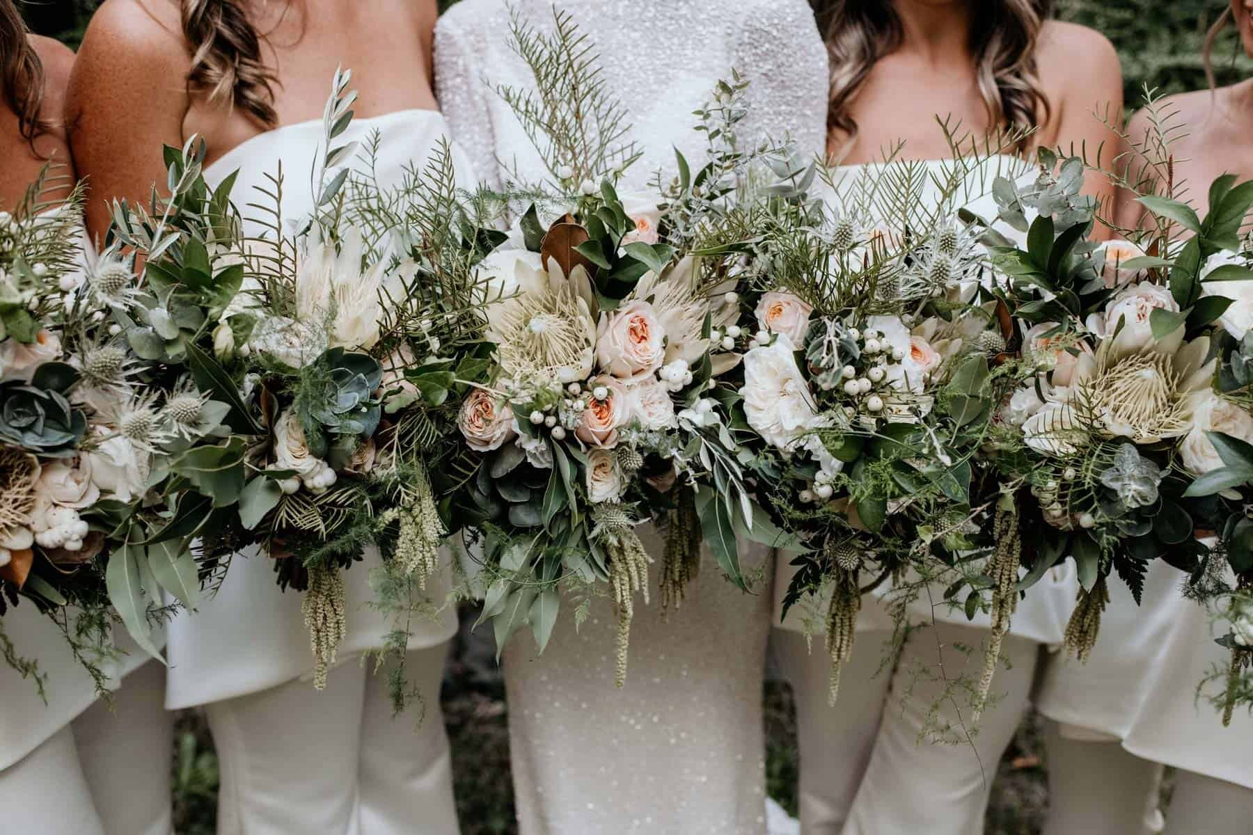 bridal and bridesmaid bouquets in blush