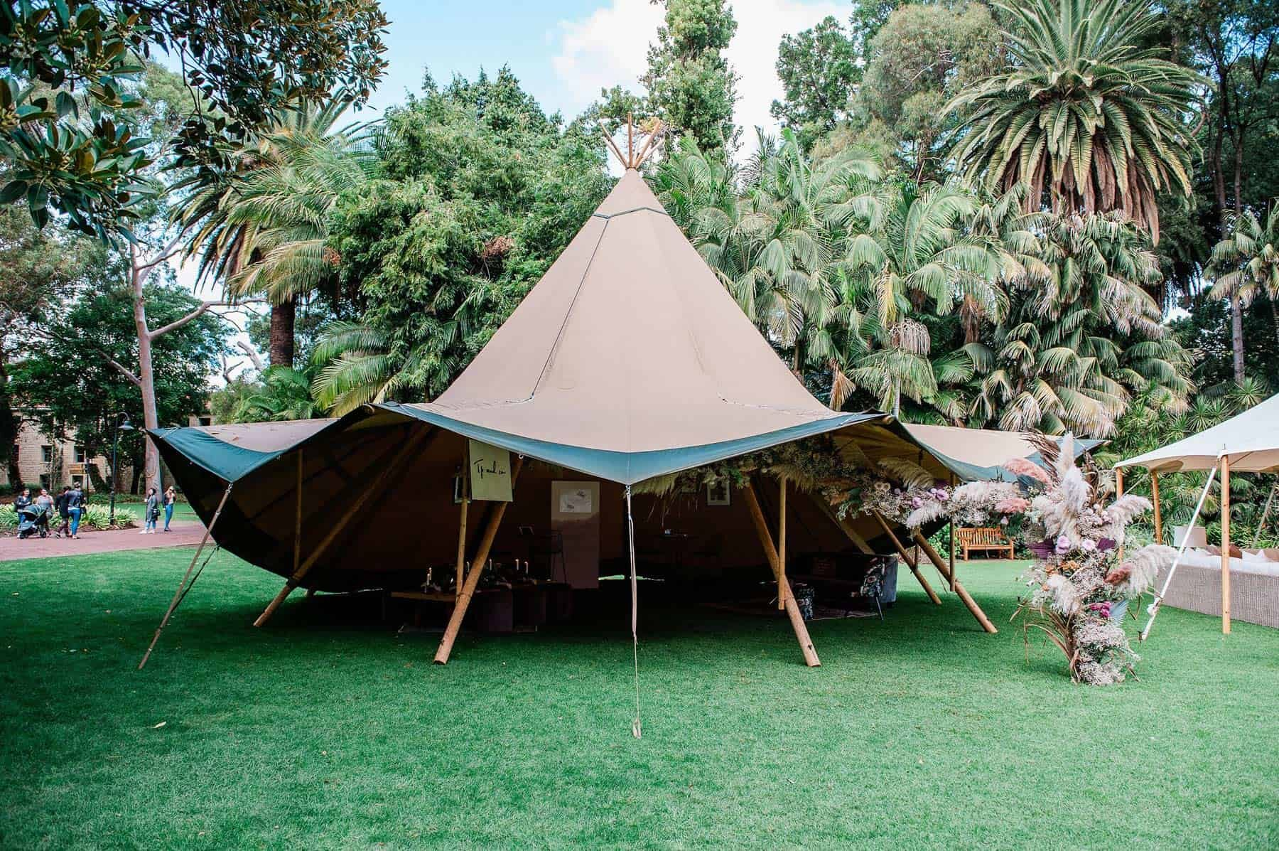 tipi marquee for festival wedding Perth