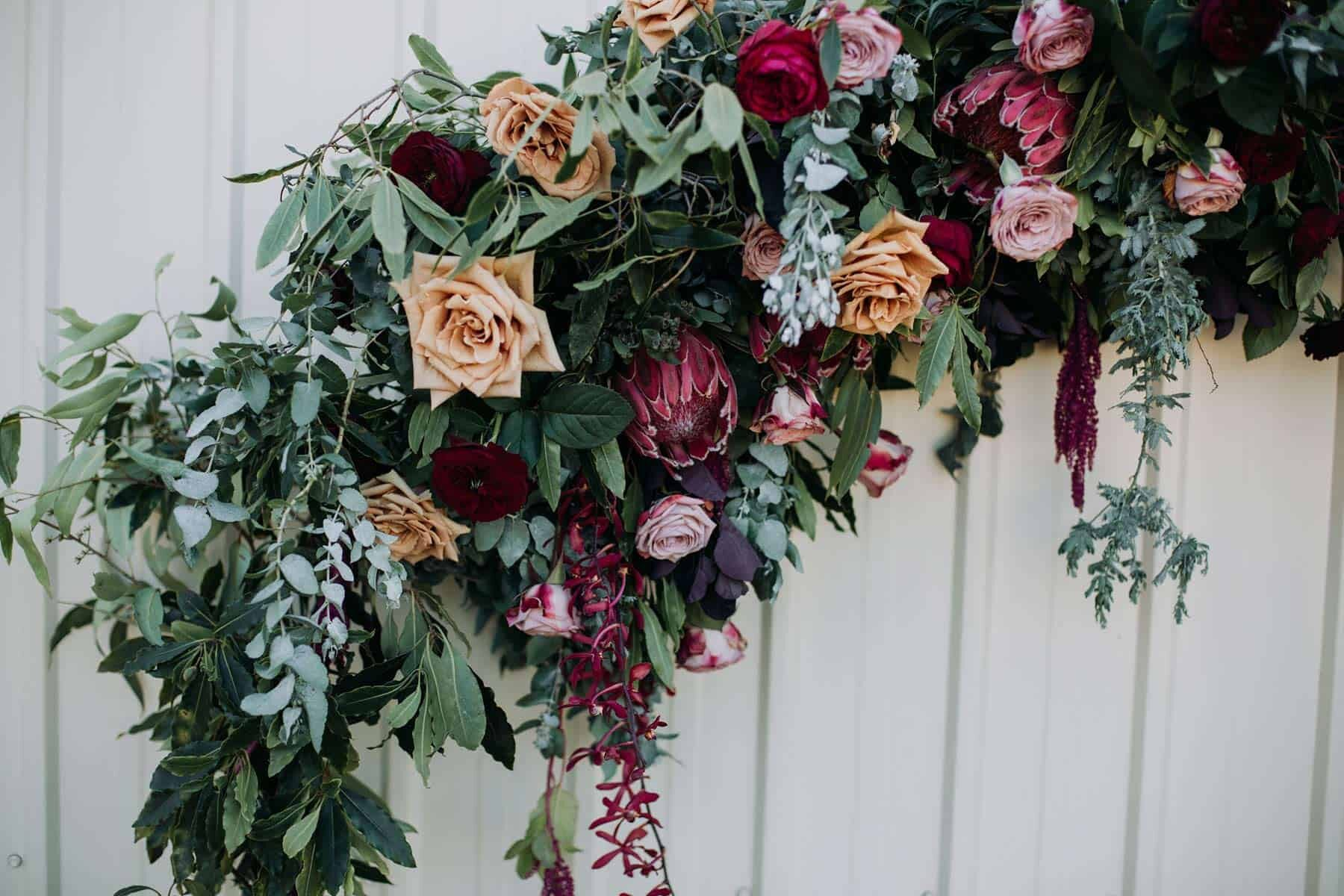 Circle floral arbour with lots of greenery
