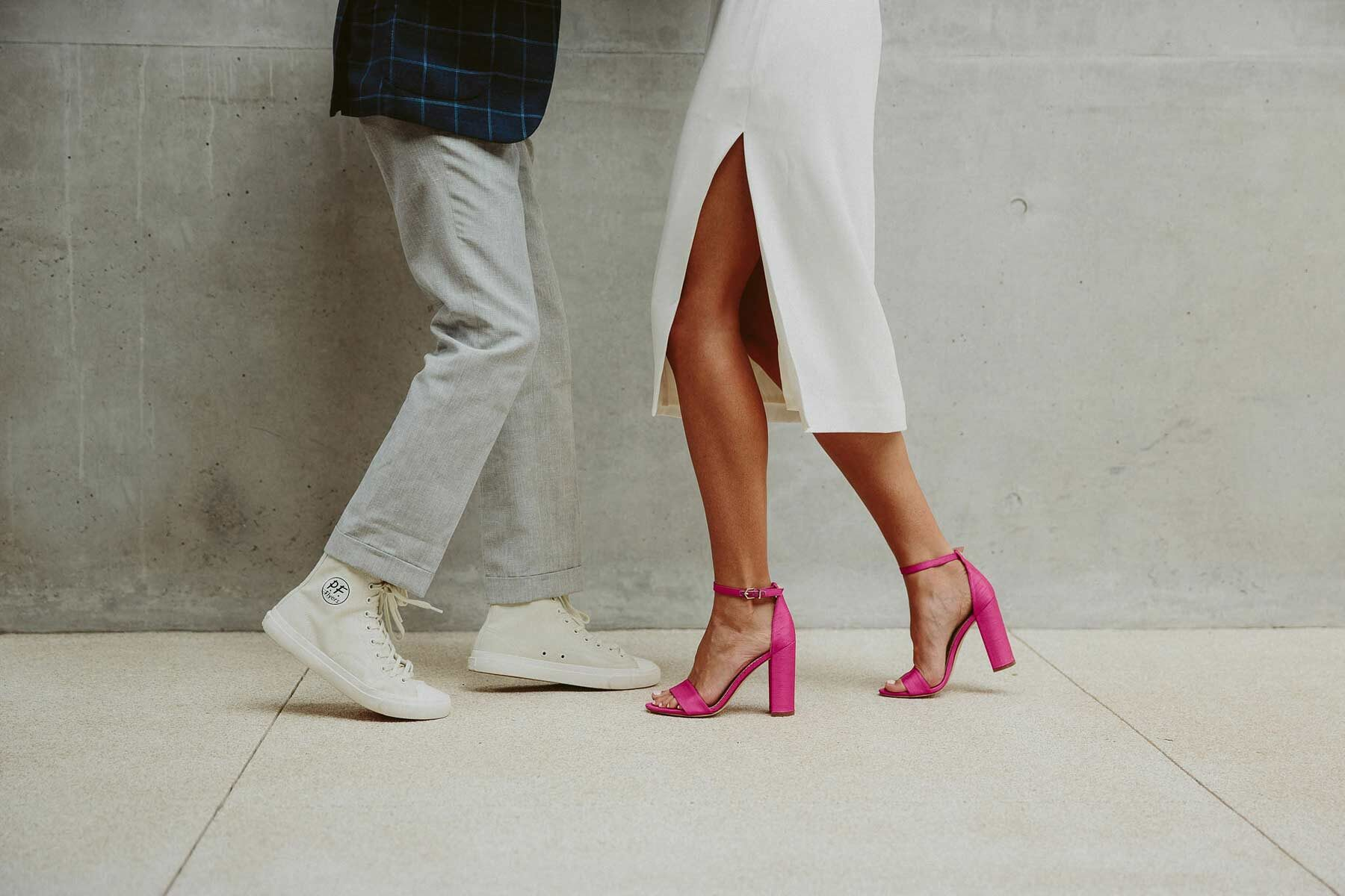 cool wedding shoes - pink heels and PF Flyers
