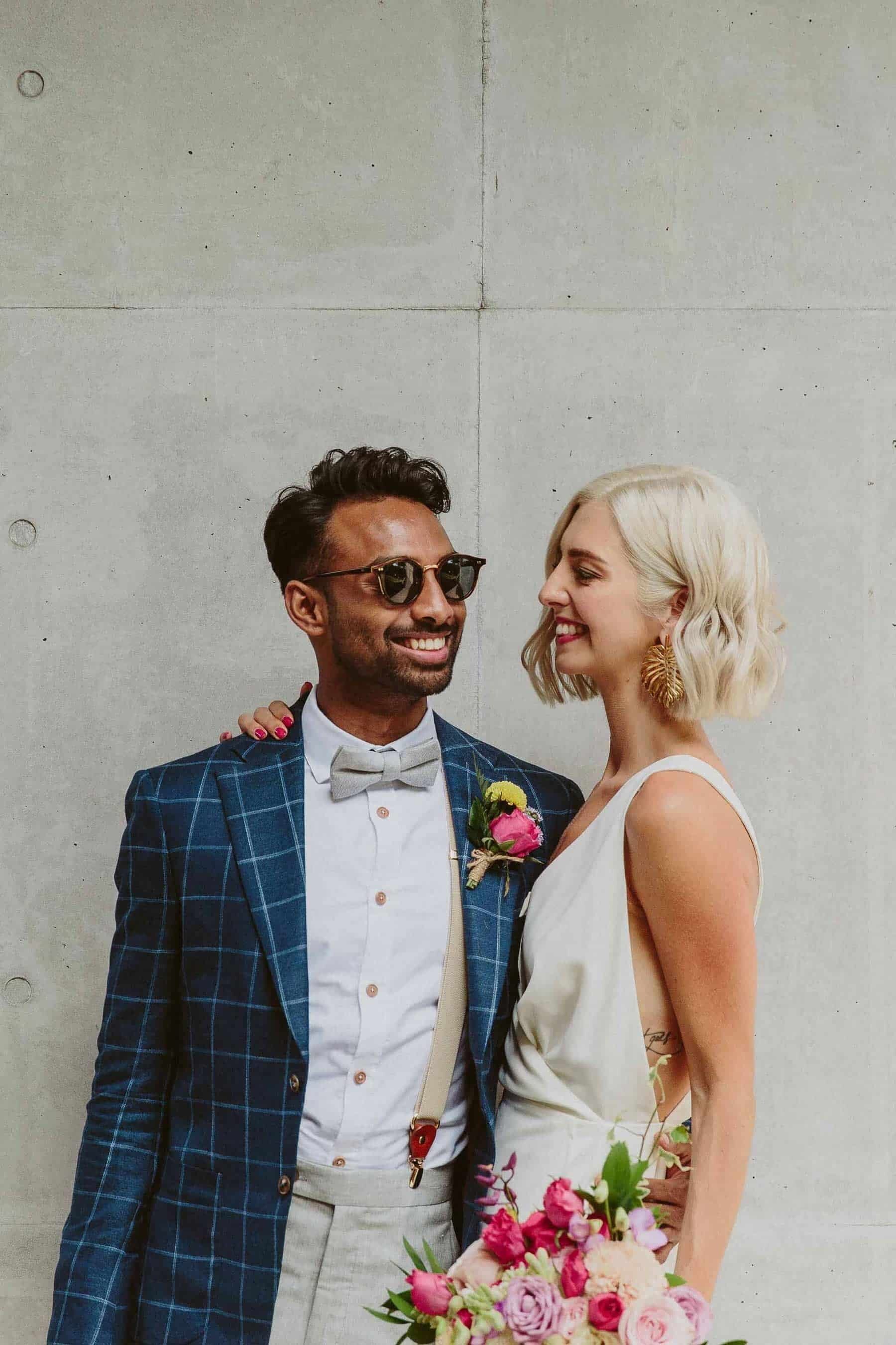 cool and modern bride and groom