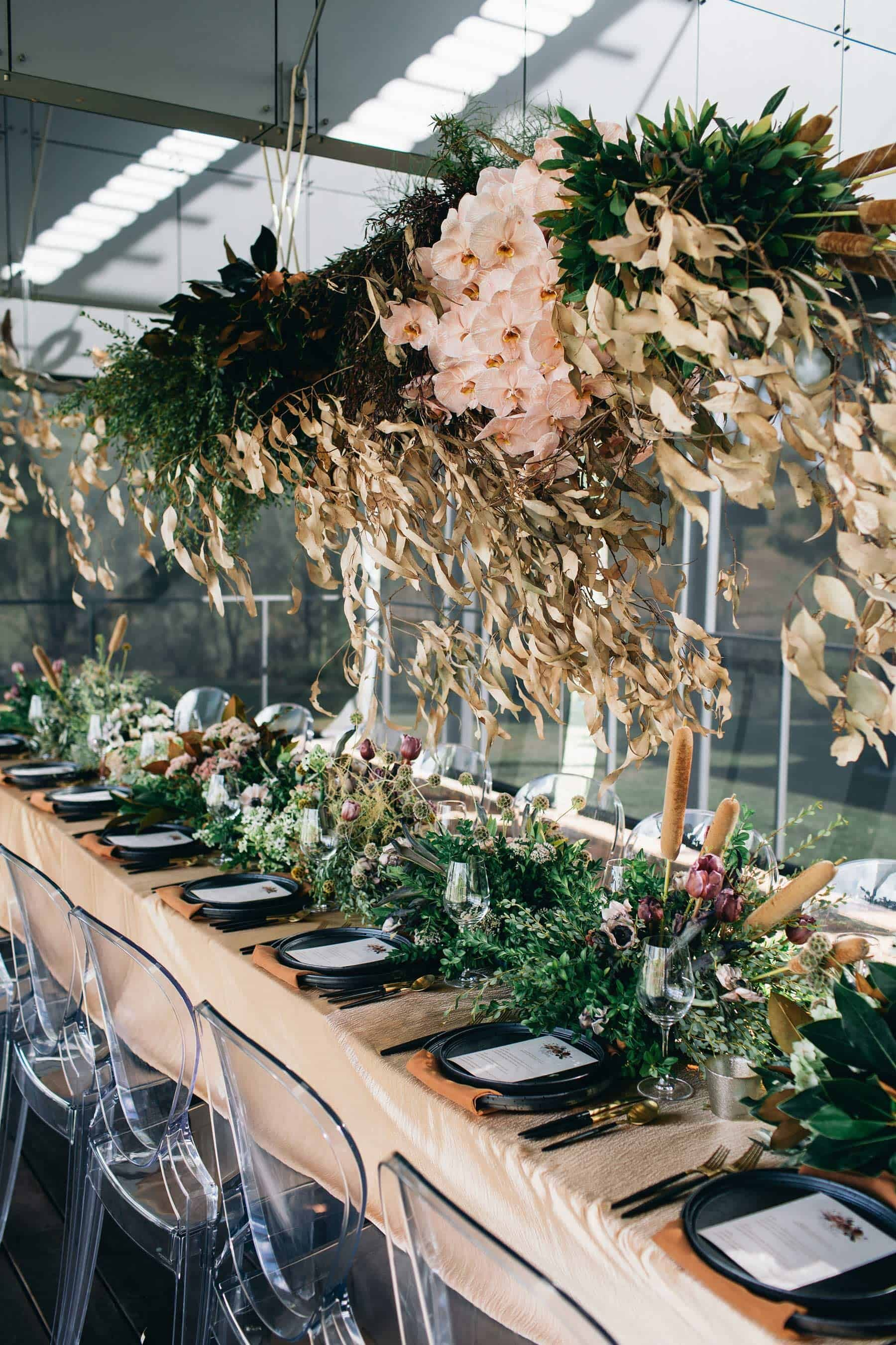 hanging floral installation with dried leaves