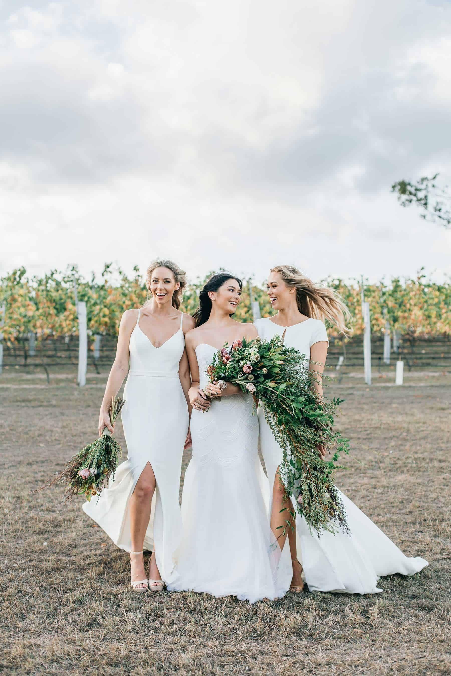 modern bride and bridesmaids