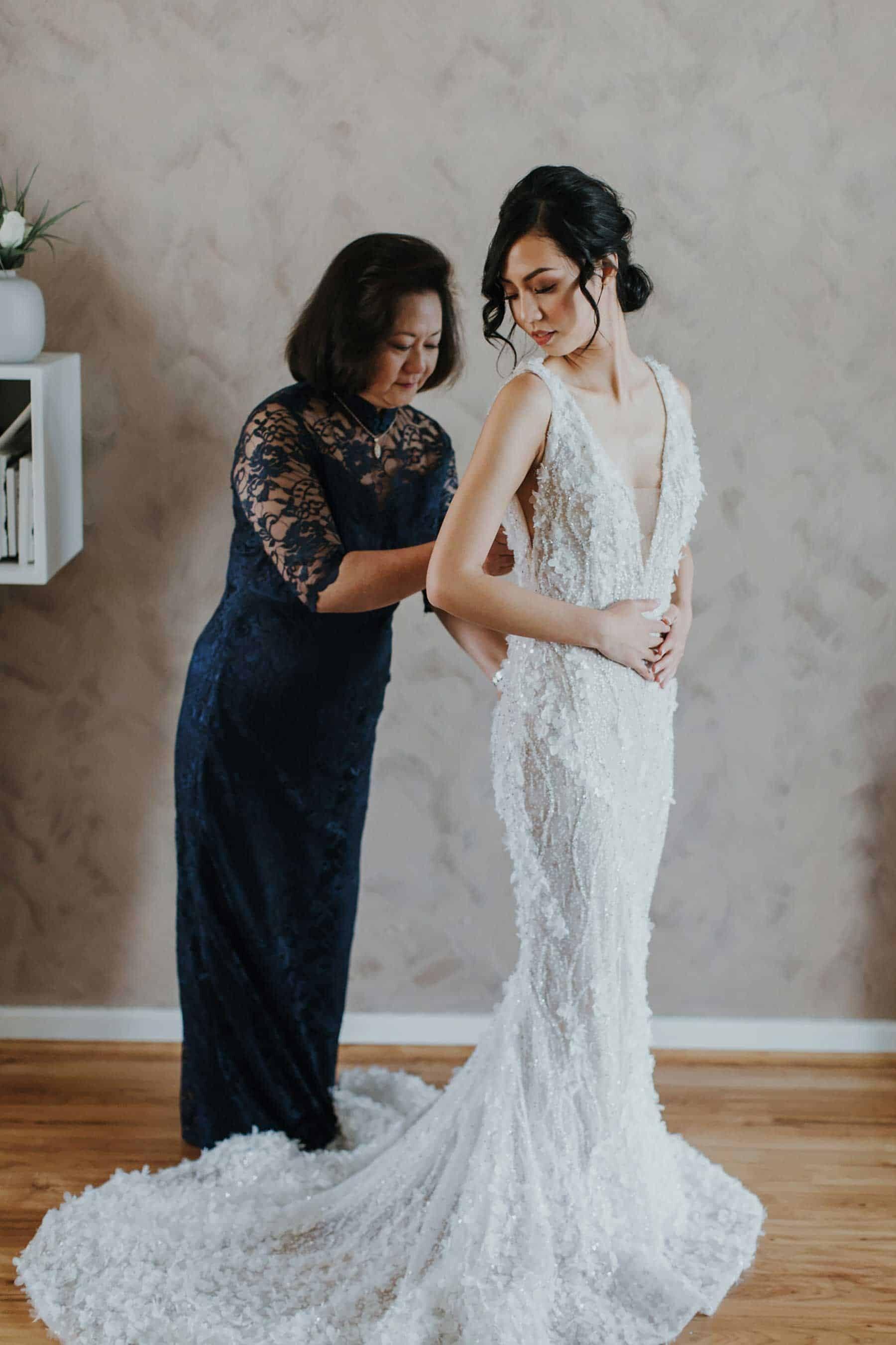 Lee Petra Grebenau embellished wedding dress