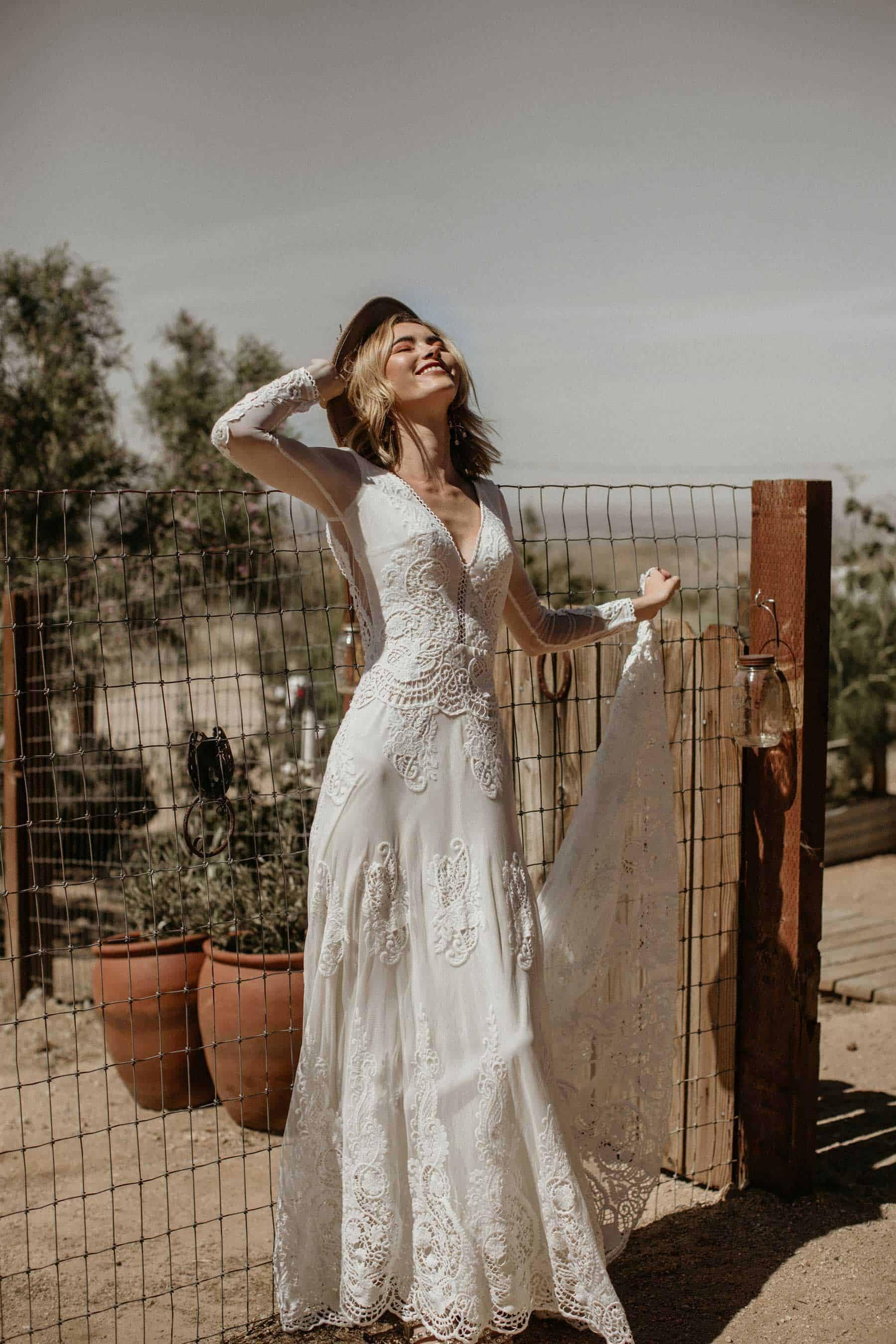 boho long sleeve lace wedding dress