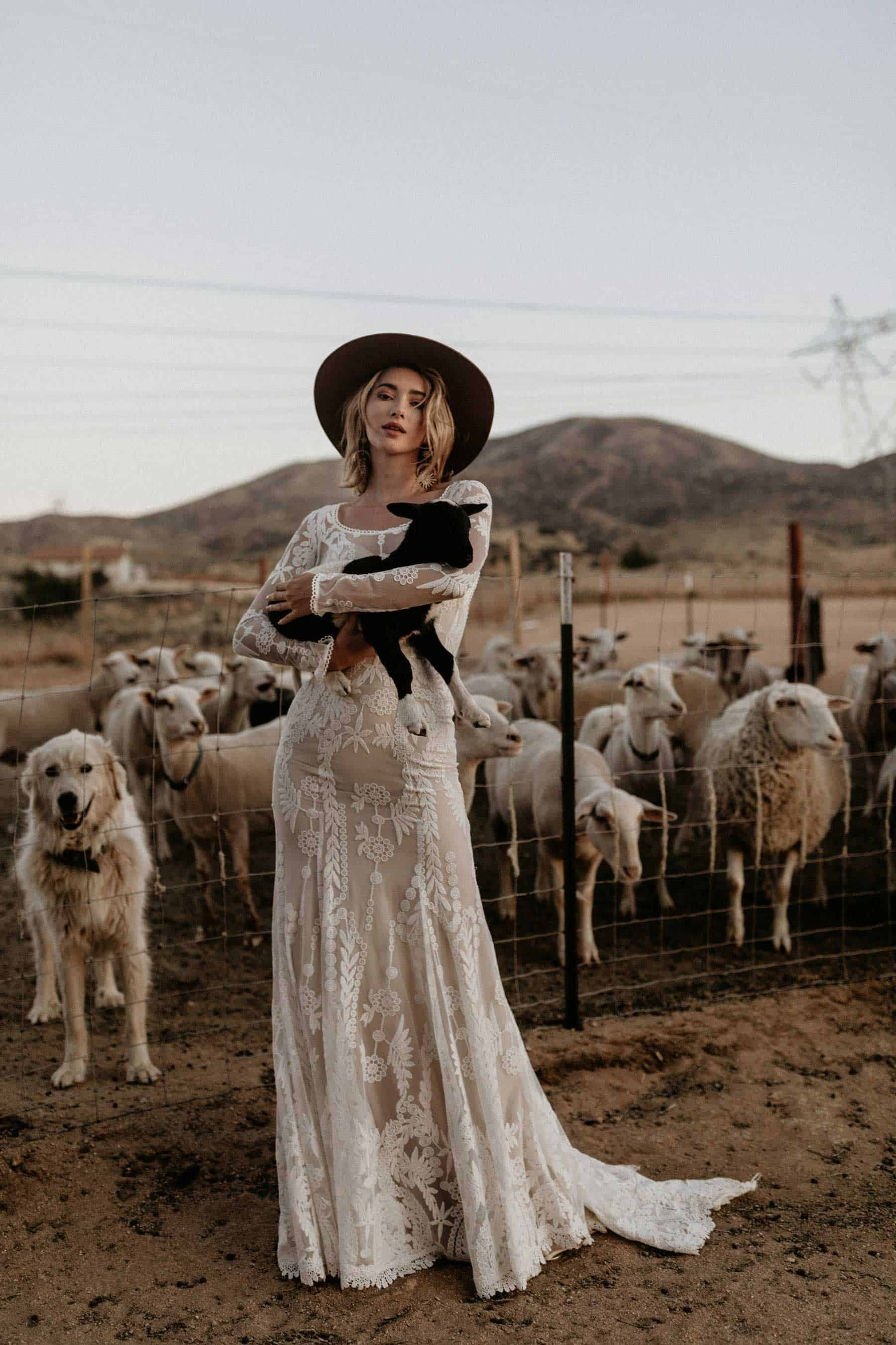indie bride holding a lamb