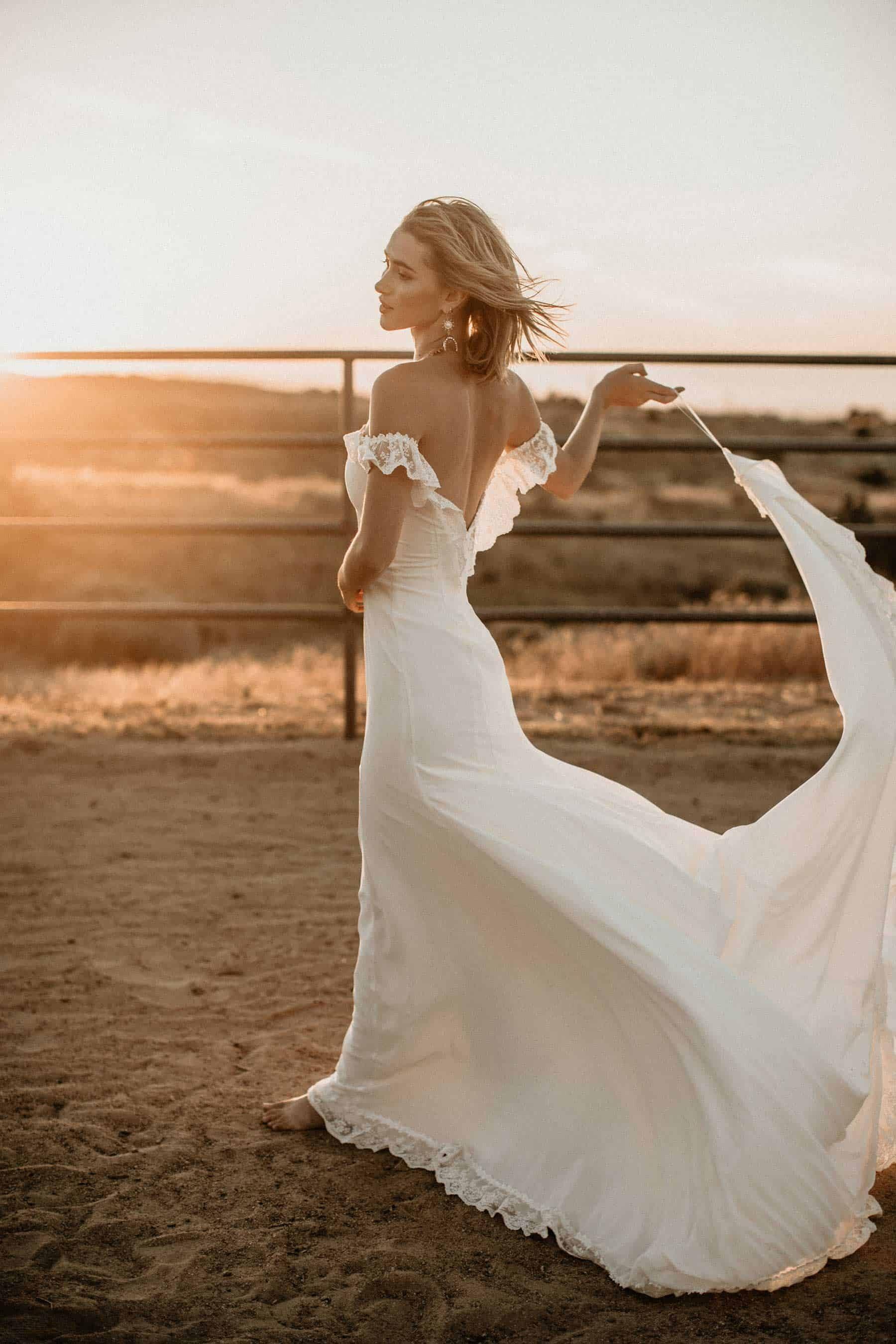 boho off-shoulder wedding dress