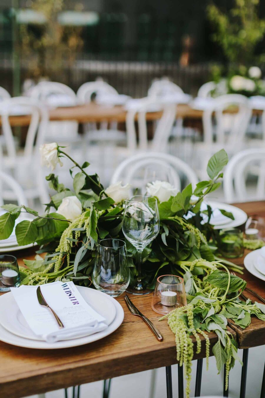 modern table setting with greenery