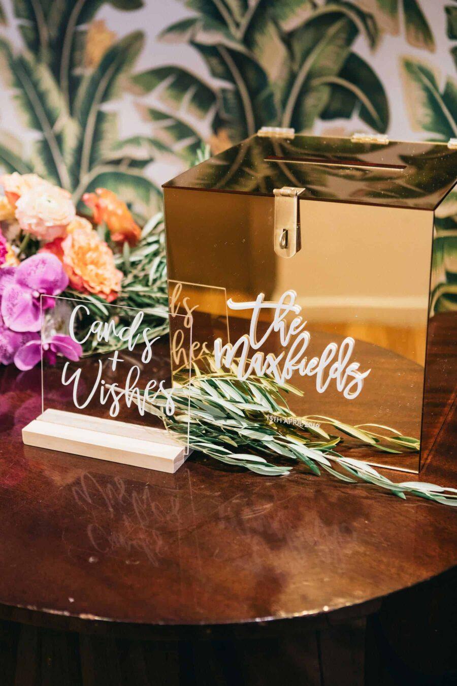 gold mirror wedding wishing well
