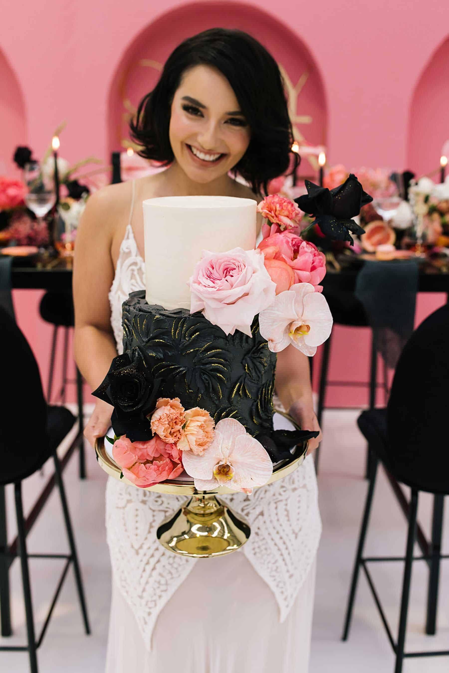 modern pink and black wedding cake