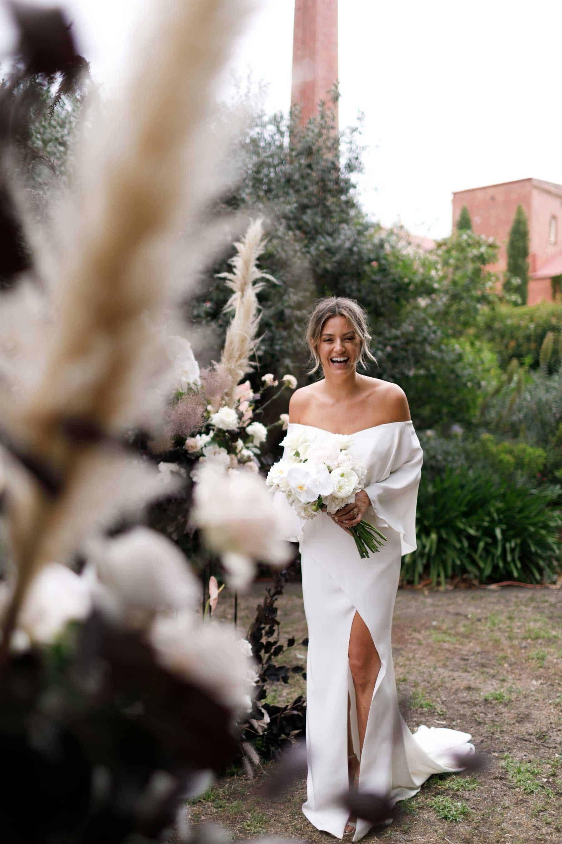 modern off-shoulder wedding dress