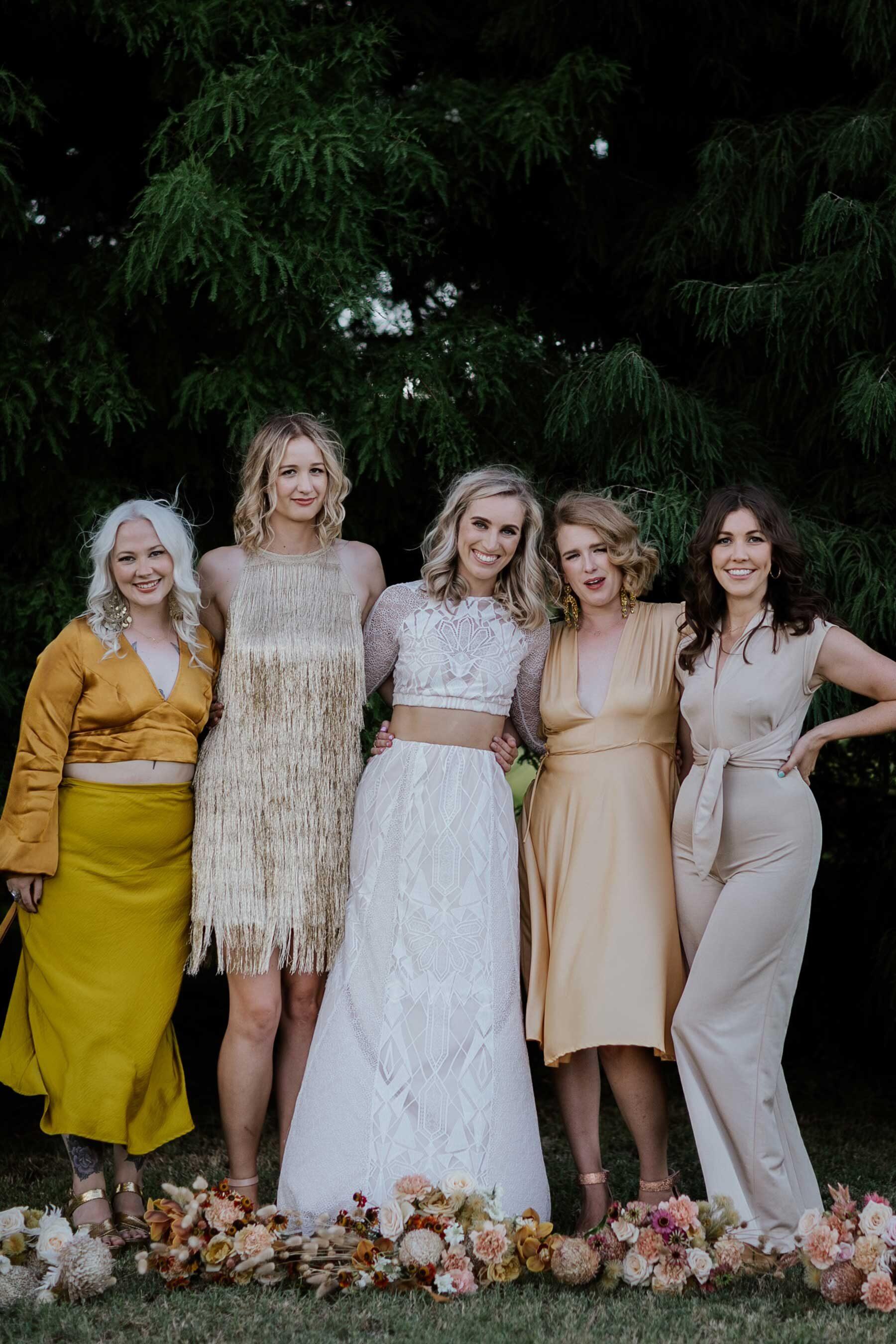 gold and yellow bridesmaid dresses