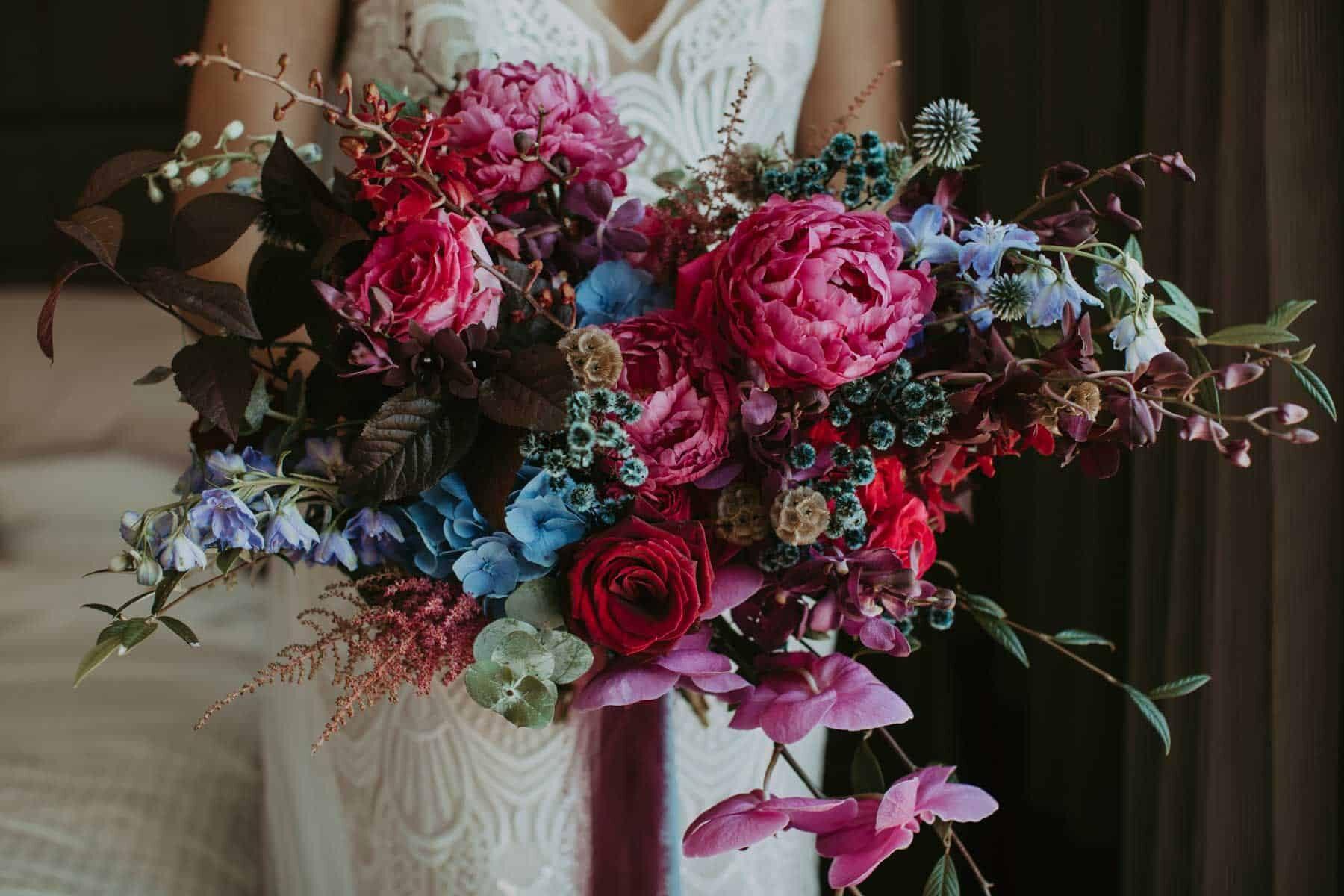 unstructured jewel-toned bridal bouquet
