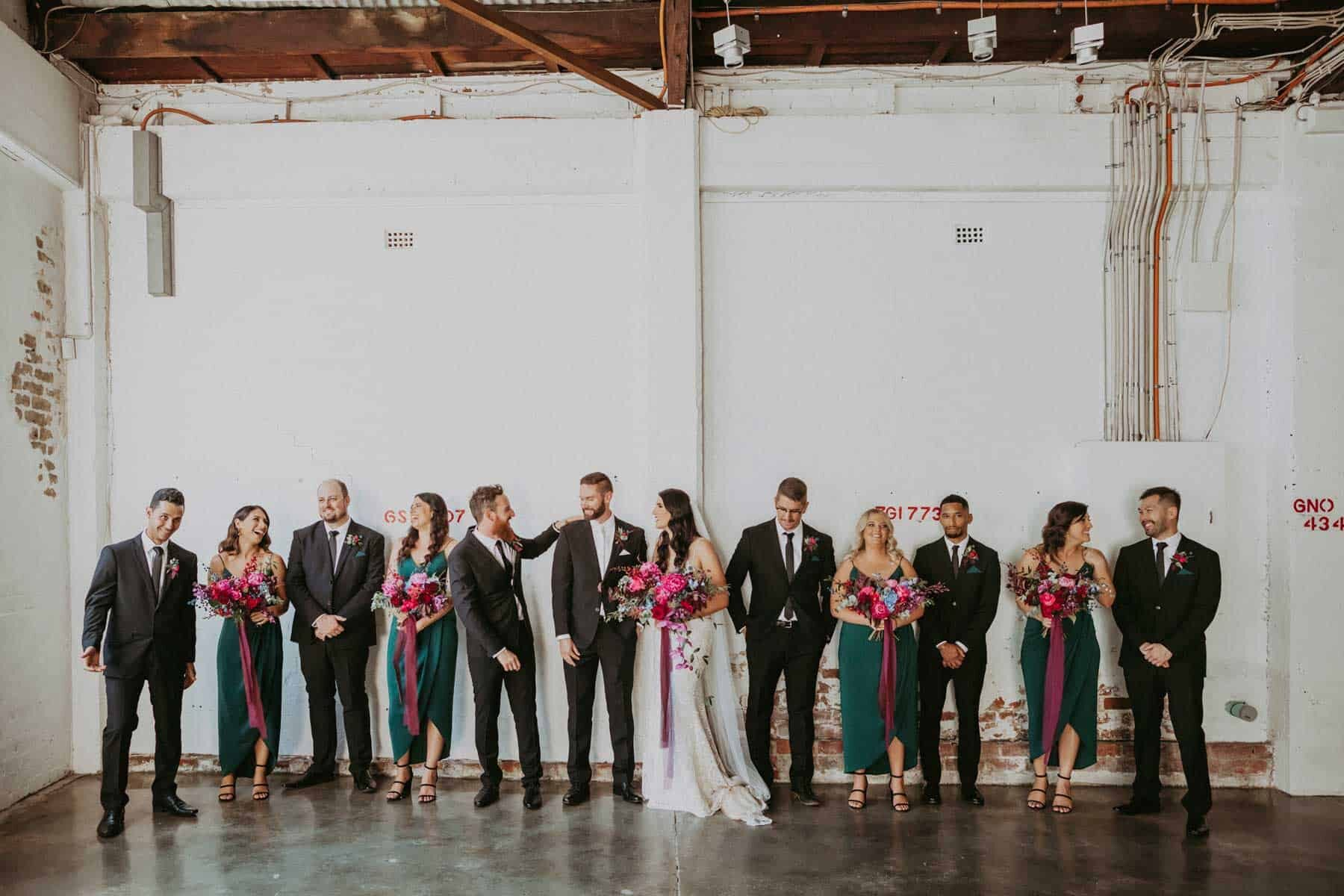 modern jewel-toned bridal party