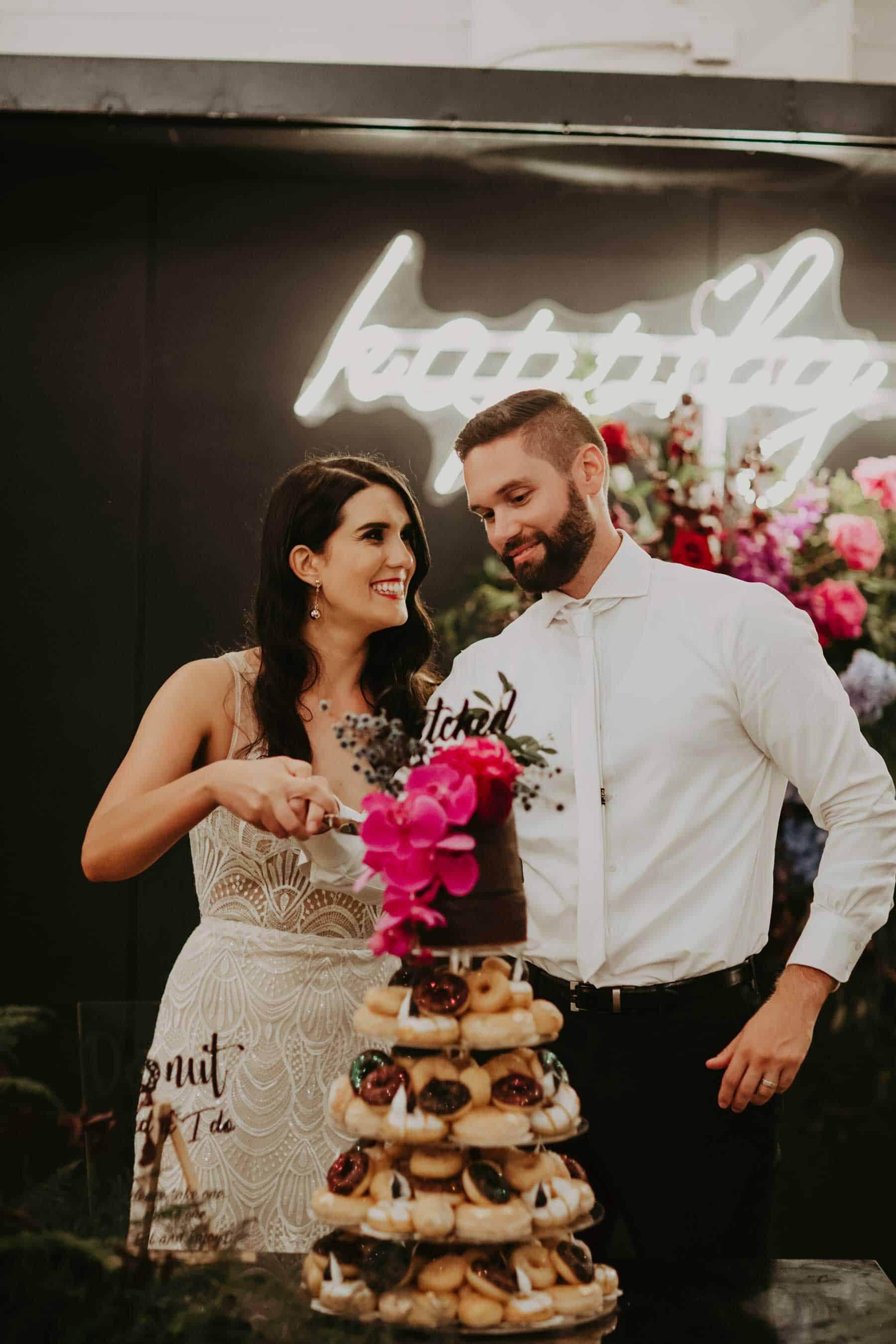 donut wedding cake with top tier cake