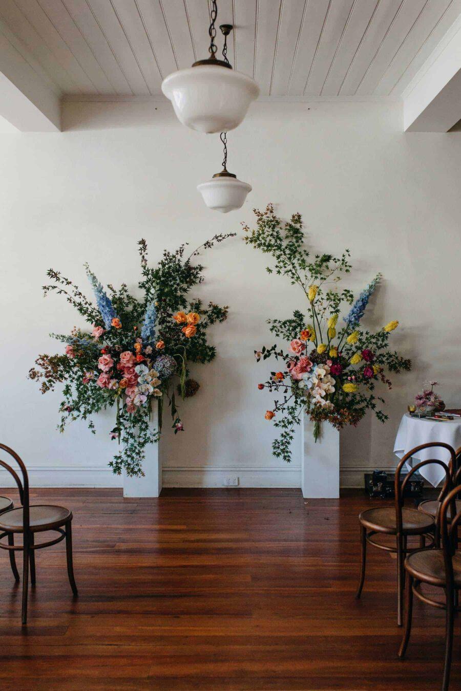 floral sculpture wedding backdrop