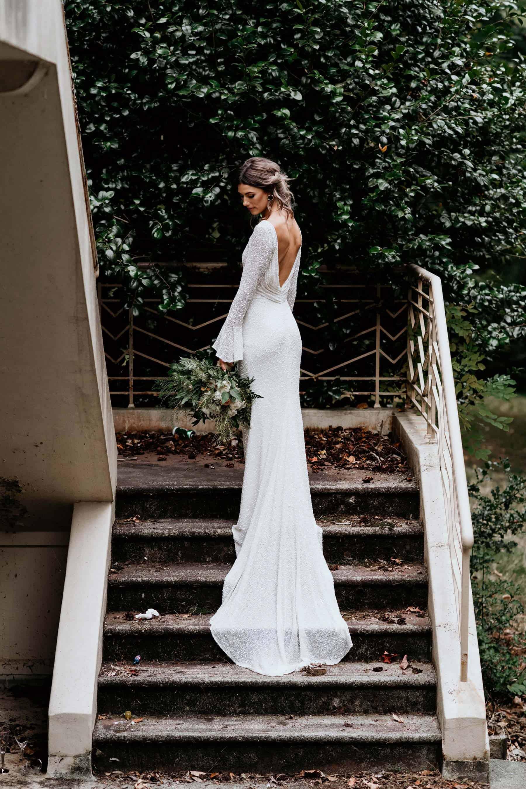 Best wedding dresses of 2019 -bell-sleeve sequin wedding dress