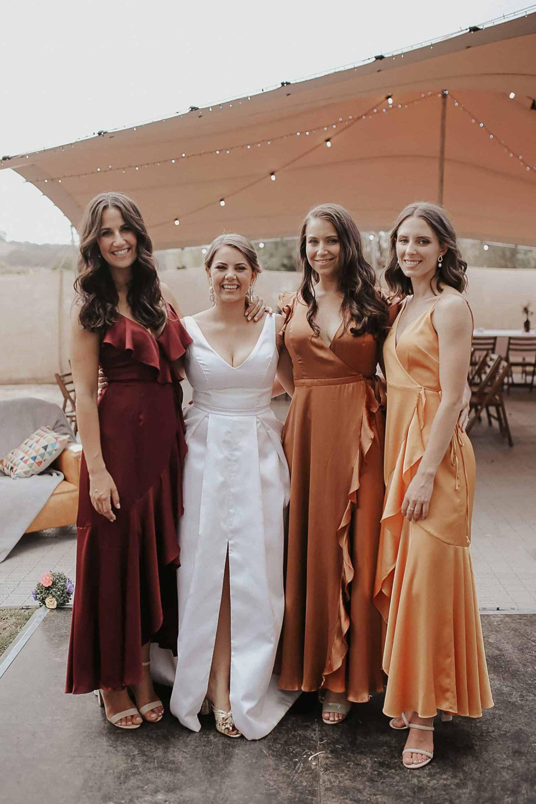 long bridesmaid dresses in autumn tones