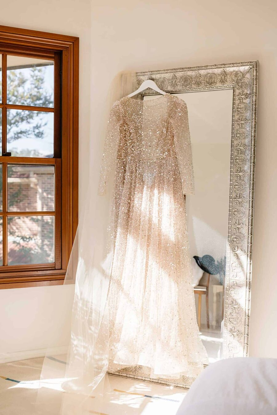 long-sleeve sequin wedding dress by Chosen by One Day