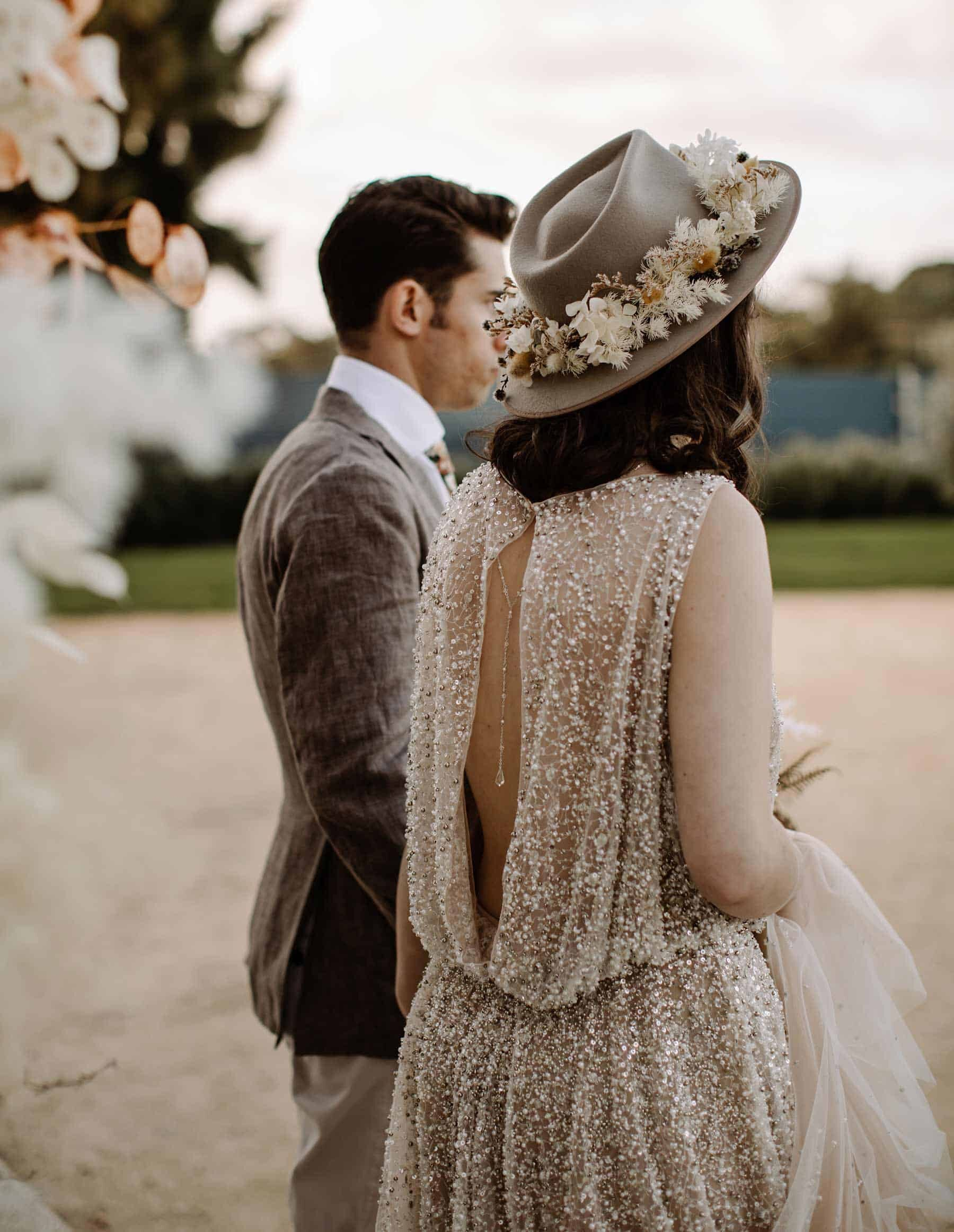 sheer sequin wedding dress by Willowby Watters