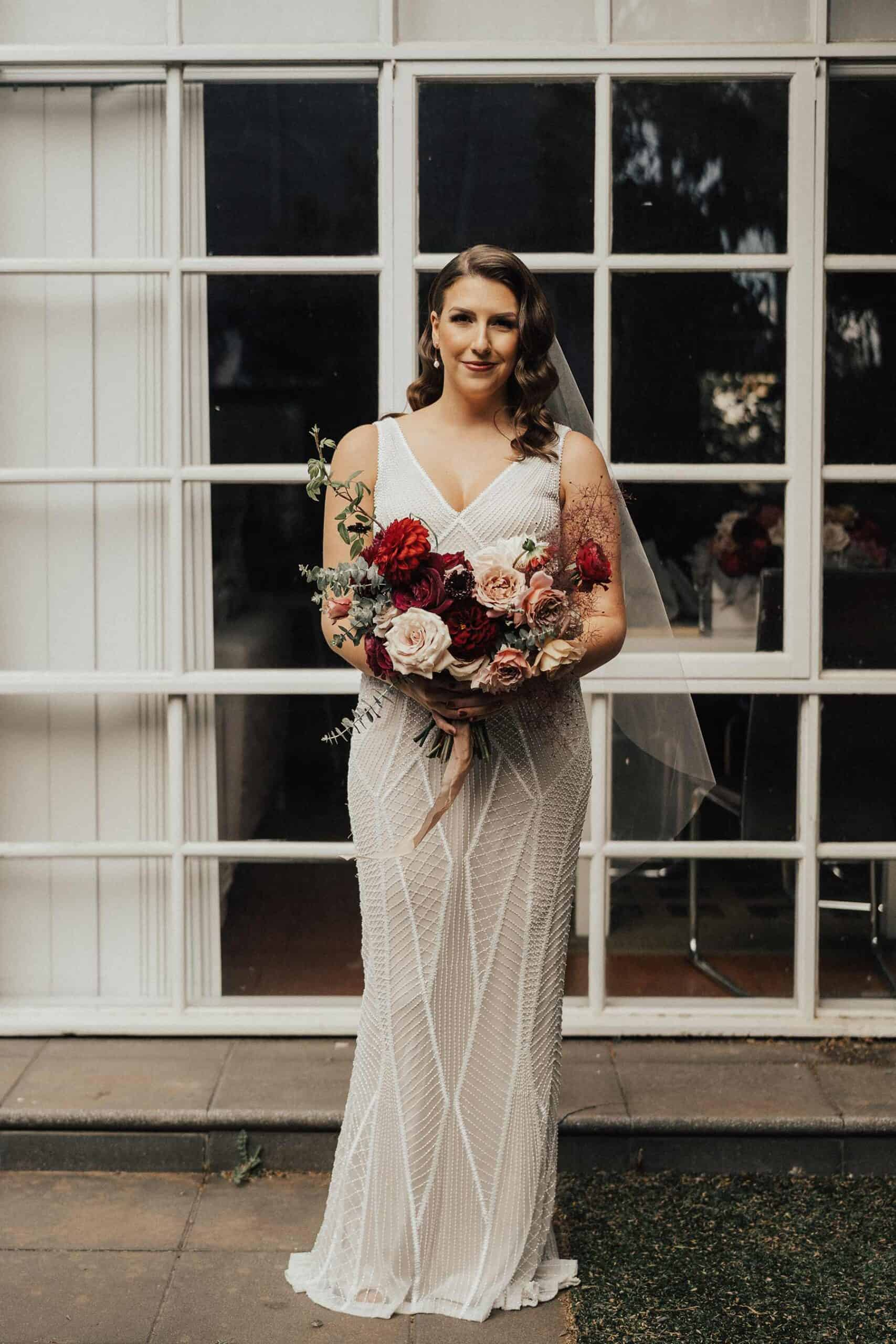 Modern deco beaded wedding dress