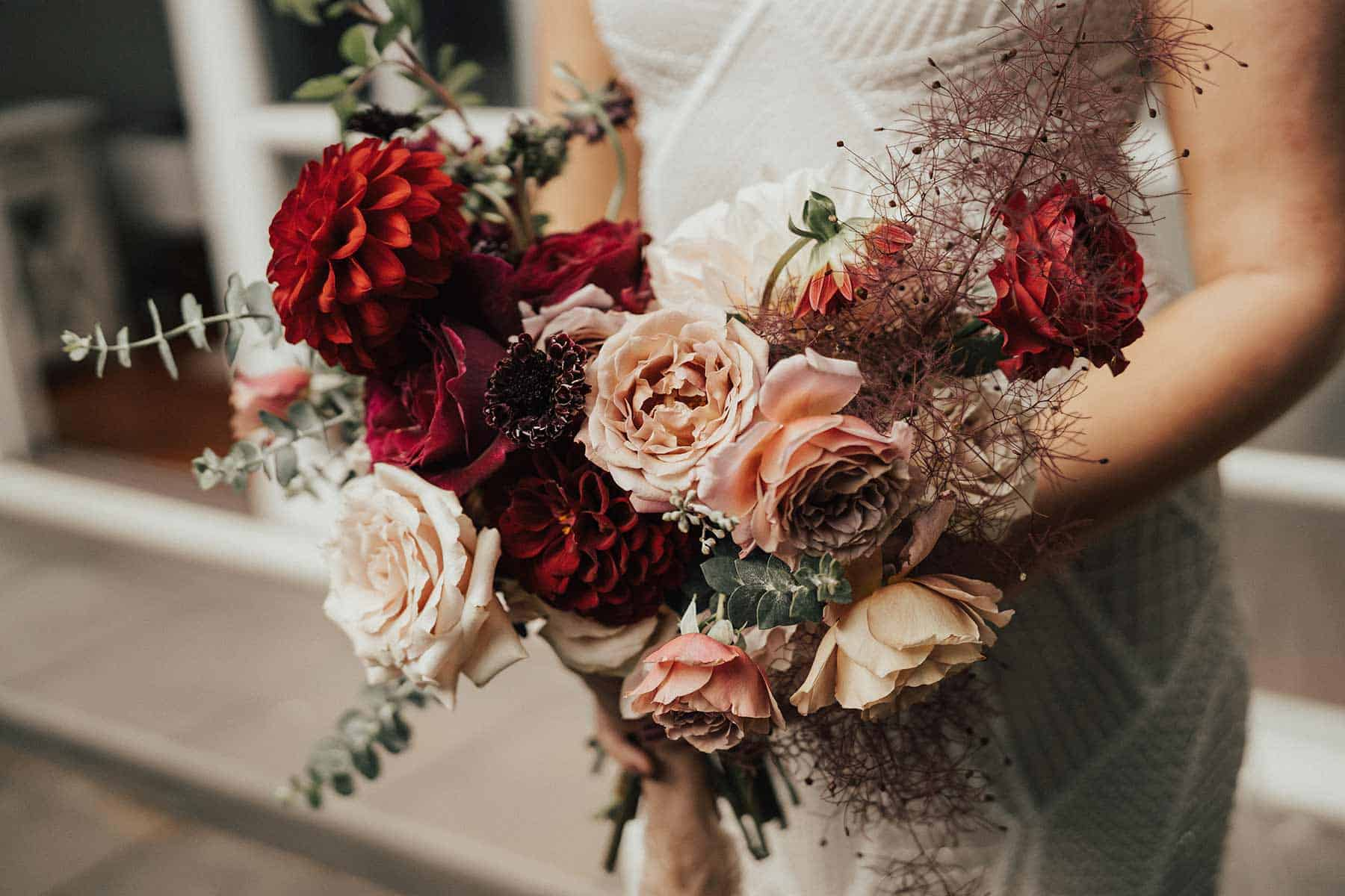 unstructured blush and burgundy bridal bouquet