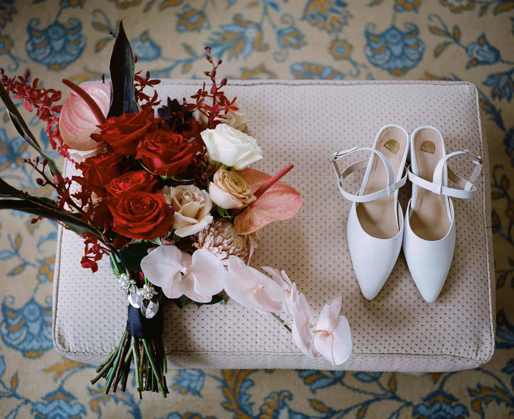 Chic wedding shoes and bouquet